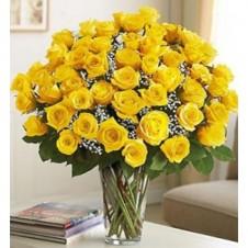 Four Dozen Premium Yellow Roses in a Vase