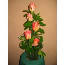 Five Orange Roses Flower Arrangement in a Vase