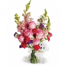 Bear Hug with Pink Flowers in a Bouquet