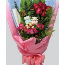 2 Little Bear,6 Pcs Ferrero Rocher & 12 Red and Pink Roses in a Bouquet