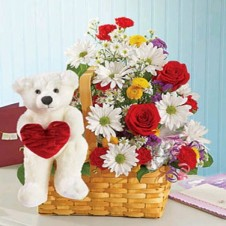 Mixed Flowers in a Basket and Bear with Heart