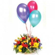 Celebration Flower in a Basket  and Five Balloons