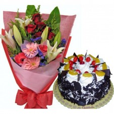Flowers in a Bouquet with Black Forest Cake