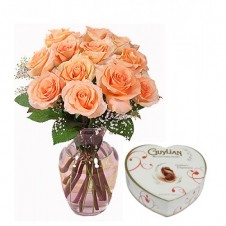 1 Dozen Peach Roses in a Vase  with Belgian Chocolates