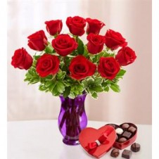 Be Mine a 1 Dozen Red Roses in a Vase with Box of Chocolates/or hershey's kisses 36gms
