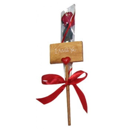 Miss You Placard plus Scented Artificial Rose