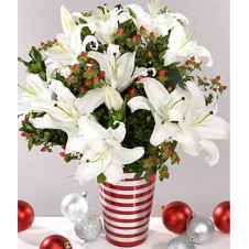 5pcs White Lilies with Seasonal Fillers in a Vase