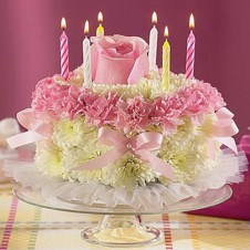 Flower Cake White & Pink Carnations