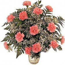 Fancy Arrangement of Pink Carnations in a Vase