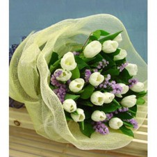 One Dozen Fresh White Tulips in a Bouquet