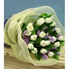 One Dozen Fresh White Tulips in a Bouquet