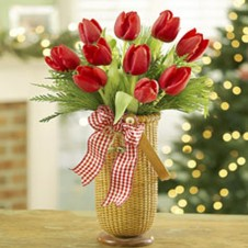 10pcs Red Tulips in a Vase