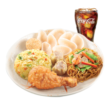 Chinese Style Fried Chicken Lauriat with Drink by Chowking