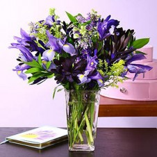 12 Purple Iris Flowers w/ Greenery in a Vase
