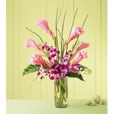 Purple Orchids w/ Tropical Flowers in a Vase