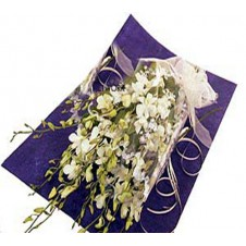 Elegant White Dendrobium Orchids in a Bouquet