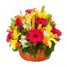 A Basket of Mixed Flower Arrangement