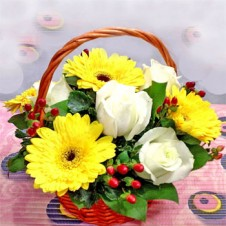Large White Roses and Yellow Gerbera w/ Greeneries in a Basket