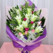A Bouquet of Mixed Flowers with Greeneries
