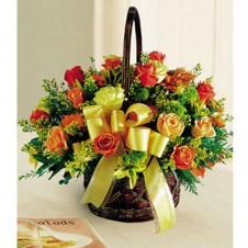 3 Dozen Orange Roses in a Basket