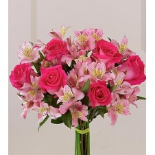 Pink Roses and Pink Alstroemeria in a Bouquet