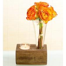 5 pcs Orange Roses  in a Glass Vase