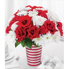 Fresh Mixed Cut Red and White Roses w/ Mums in a Vase