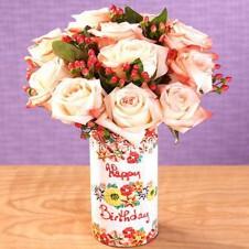 1 Dozen Peach Roses in a Vase