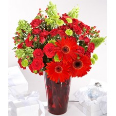 Fresh Red Roses and Red Gerberas w/ Greenery in a Vase