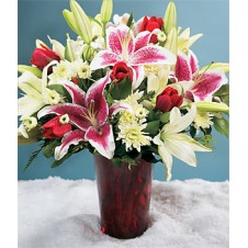 Mixed Lily Flower and Red Tulips with Greenery in a Vase