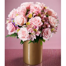 Pink Roses and Alstroemeria in a Vase