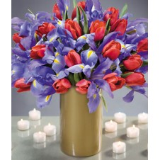 Fresh Iris and Red Tulips in a Vase