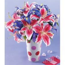 Star Gazer and Blue Iris in a Vase