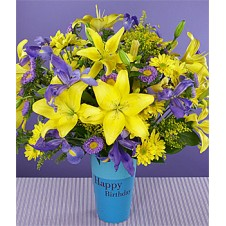 Mixed Iris with Bright Yellow Lilies in a Vase
