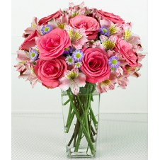 Pink Roses, Pink Alstoemeria with Mums