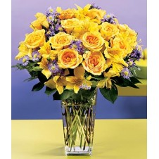 Yellow Roses and Alstroemeria with Greenery in a Vase
