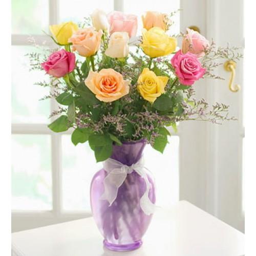 1 Dozen Mixed  Roses in a Vase
