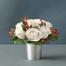 6pc White Roses in a Vase