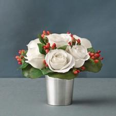 6pc White Roses in a Vase