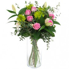 Pink Roses with Greeneries in a Bouquet