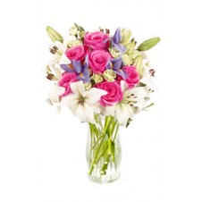Combination of Pink Roses & White Lilies in a Vase