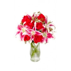 Combination of Red Roses & White Lilies in a Vase