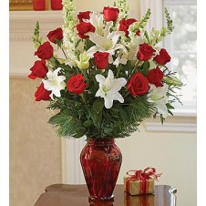 White Lily & Dozen Red Rose in a Vase