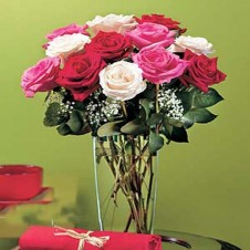 Expression Roses with Babys Breath in a Vase