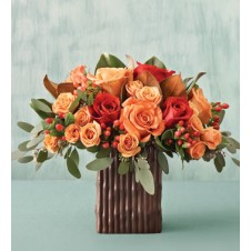 Mixed Orange & Red Roses in a Vase