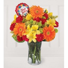 Mixed Flowers Contains Orange Gerbera, Red Carnations, Yellow Alstroemeria, Mums with Small Size Balloon in a Vase