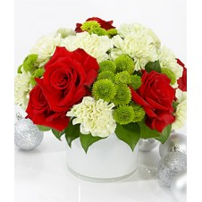 Fresh Red Roses and White Carnations with Greenery in a Vase