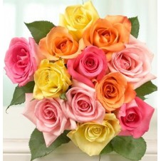 Multi-Colored Holland Roses in a Bouquet