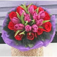 Pink Tulips with Red Holland Roses in a Bouquet