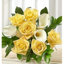 Yellow Holland Roses & White Callas in a Bouquet